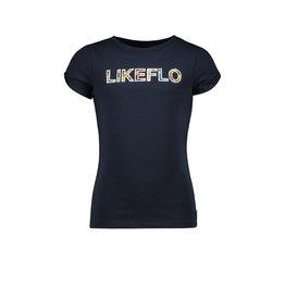 Like Flo Flo girls tee open shoulder roll navy