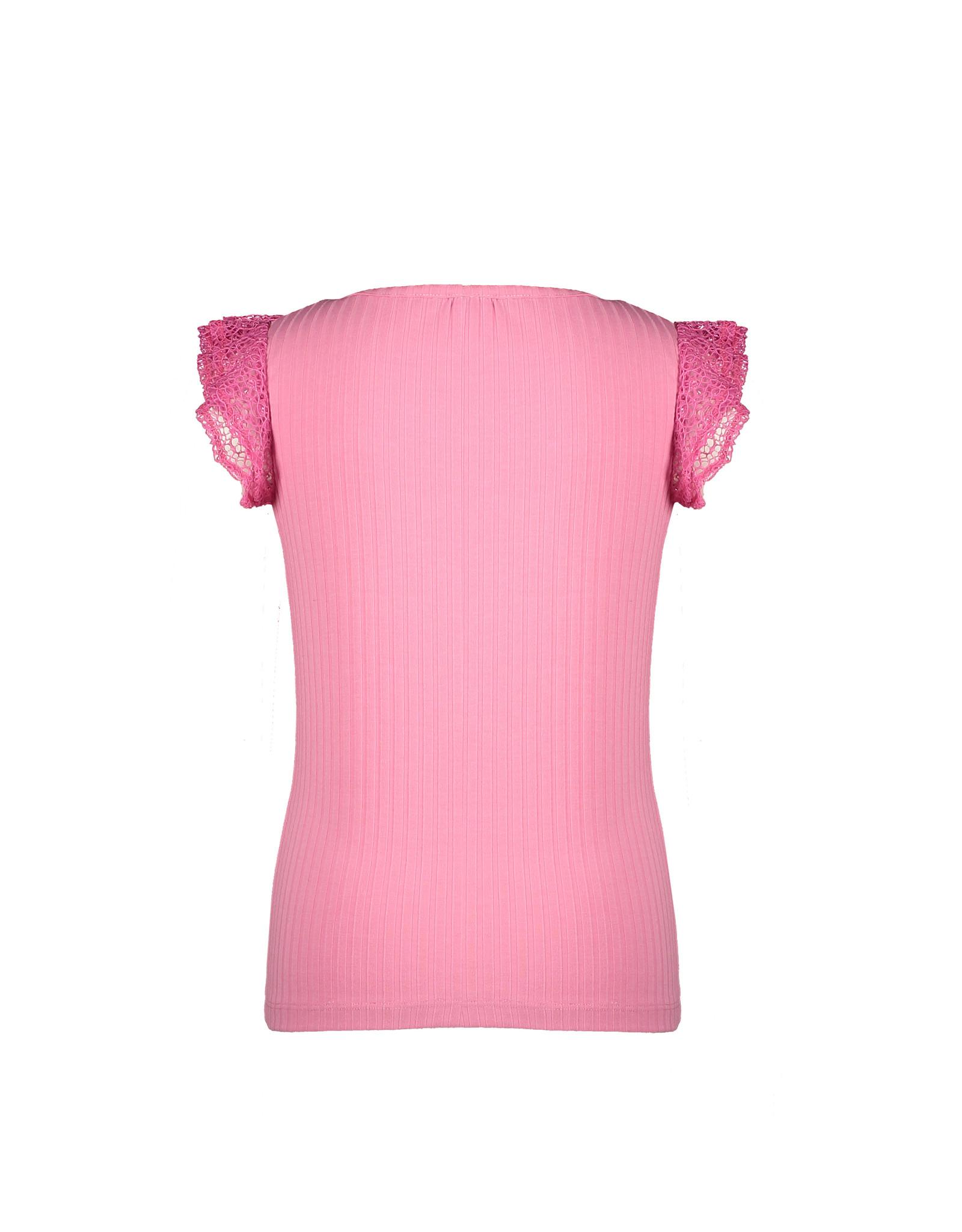 Nono Kathy rib tshirt with ruffled mesh short sleeves