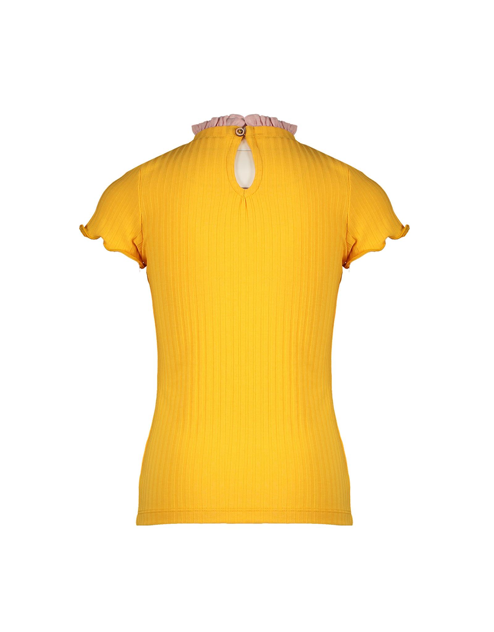 Nono Kim ss rib jersey tshirt with woven ruffled detail at neck