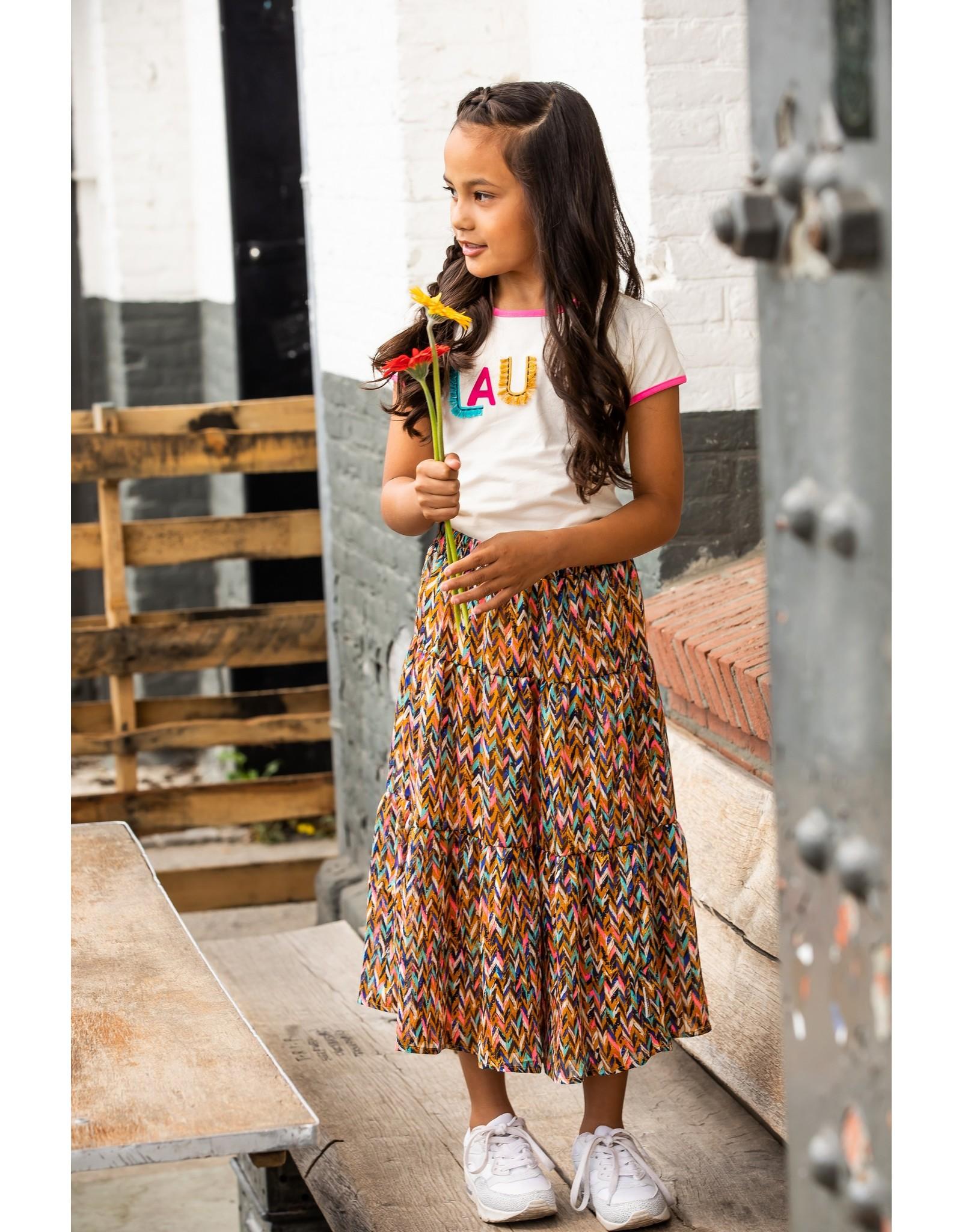 B.Nosy Girls curious aop midi skirt