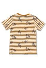 Sturdy T-shirt streep okergeel - Happy Camper