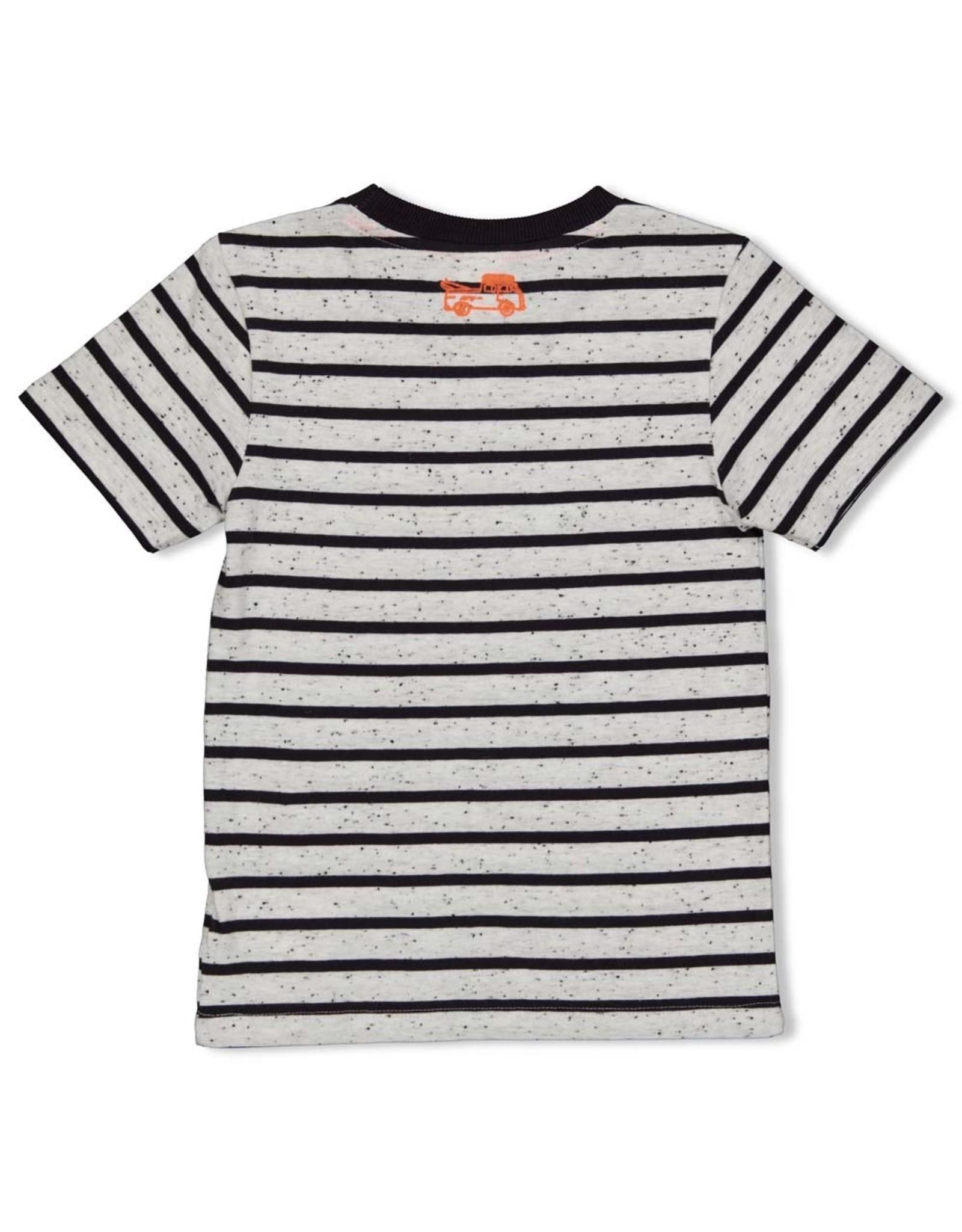 Sturdy T-shirt streep antraciet  - Happy Camper