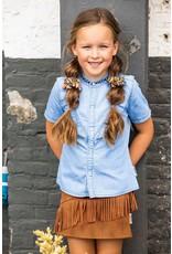B.Nosy Girls denim blouse with ruffle