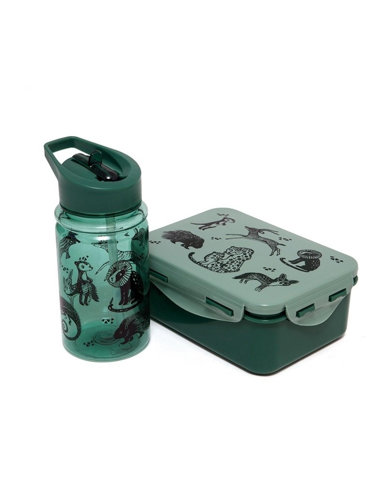 Petit Monkey Lunchbox black animals groen