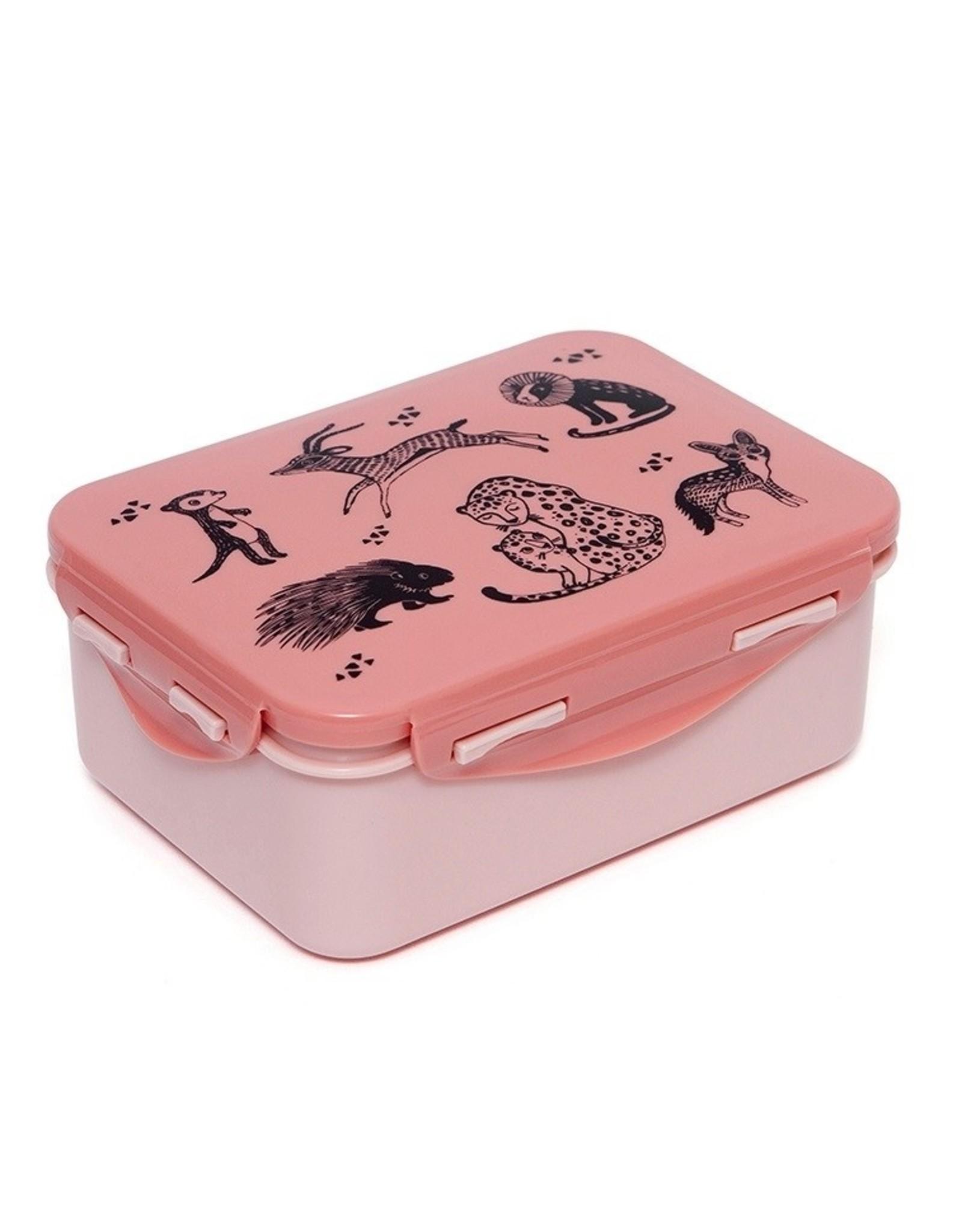 Petit Monkey Lunchbox black animals roze