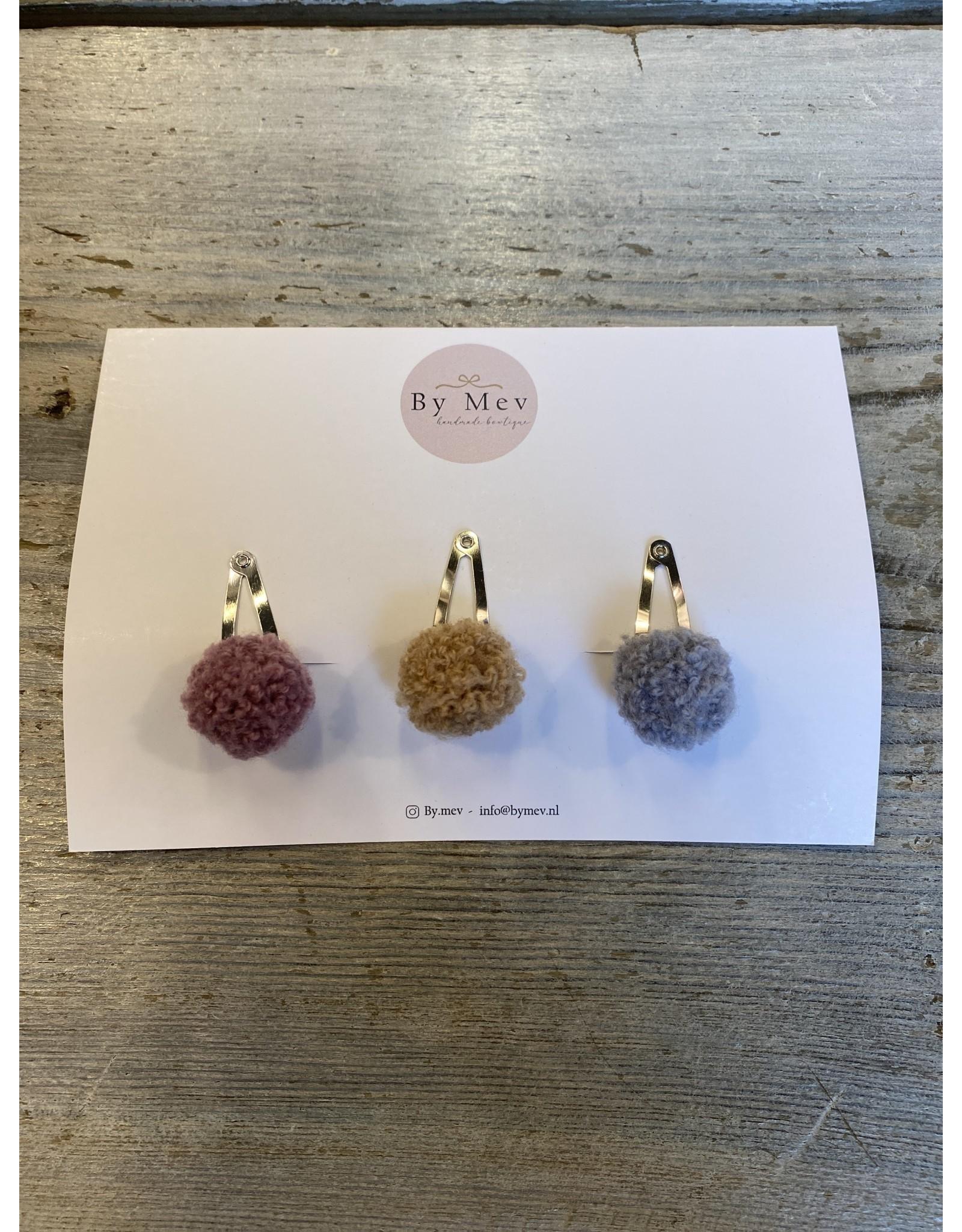 Bymev Mini wool pompom 3 cm - 3pcs purple