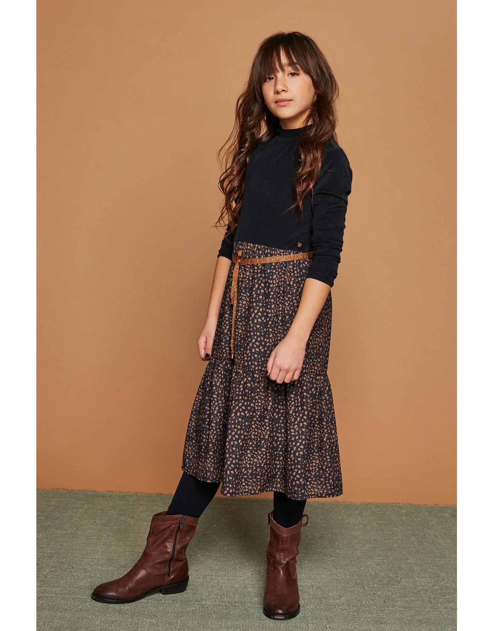 Nono Mikado maxi dress with velours rib top+woven skirt