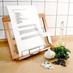 Excellent houseware Premium Kookboek Standaard van Bamboe met Chrome Bladzijde Houder