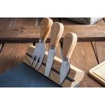 Relaxwonen Kaasplankje met 3 Mesjes - Bamboe & Leisteen - Uniek - stevige kwaliteit