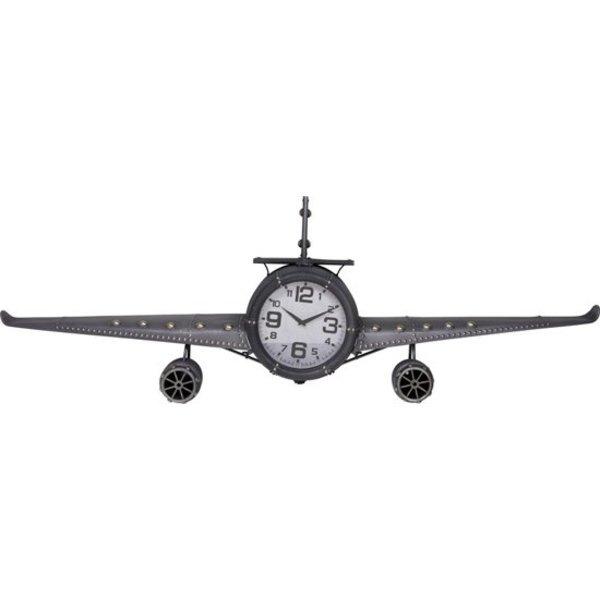 Relaxwonen Home & Styling Retro wandklok vliegtuig metaal - grijs - 143x20x46 cm