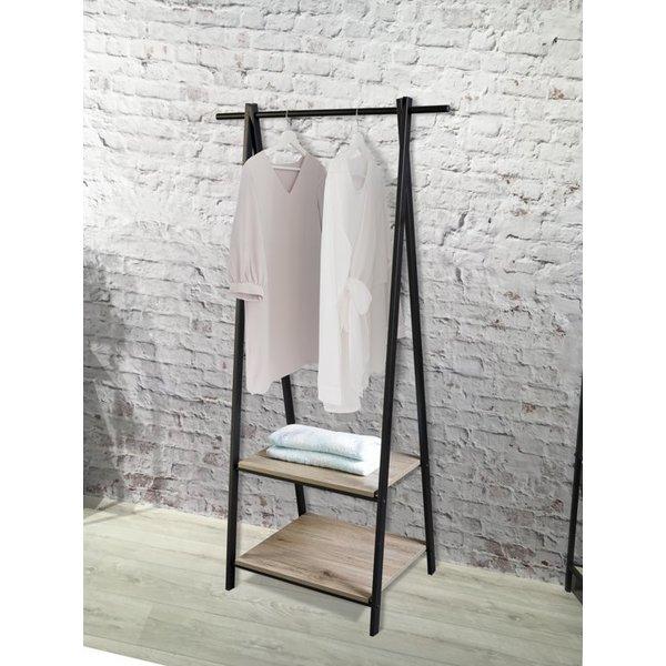 Relaxwonen Relaxwonen - kledingrek metaal met hout - industrieel - mat zwart