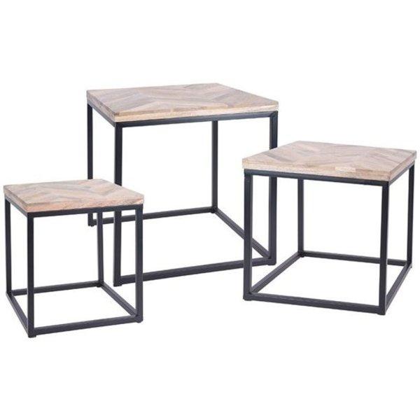 Relaxwonen Relaxwonen - Bijzettafel - Set van 3 - Metaal & hout - Vierkant - 40.5x40.5x45cm