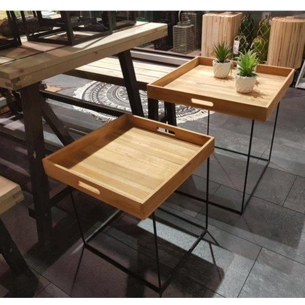 Relaxwonen Relaxwonen - Salontafel - Bijzettafel - Dienblad op metalen voet - Teak hout