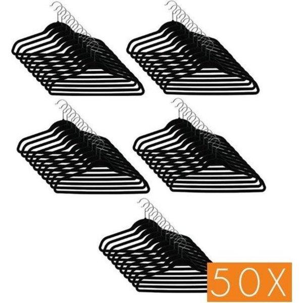 Relaxwonen kwaliteit Kledinghangerset 50 stuks - Non slip kledinghangers - Fluweel zwart