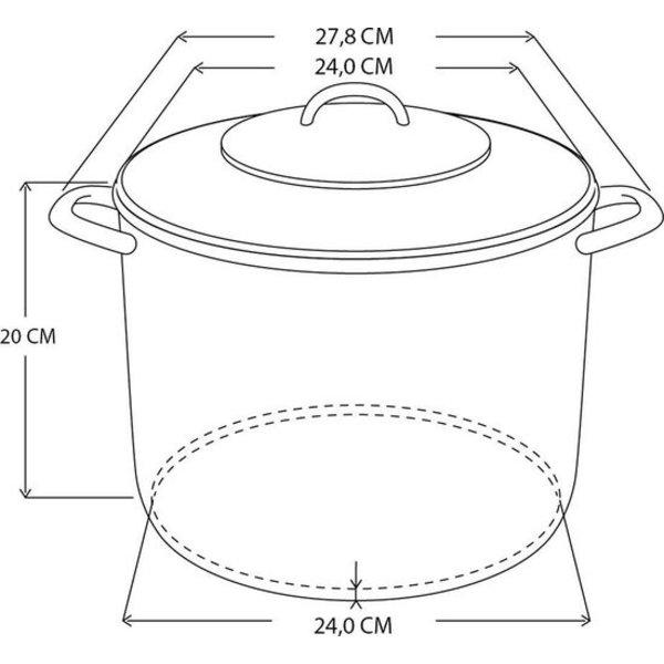 Excellent houseware Excellent Houseware 9L - Glazen deksel - Ø 24 cm - Vaatwasserbestendig - RVS