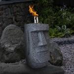 Relaxwonen Relaxwonen - Olielamp - Paaseiland - Moai - Grijs - Tuinbeeld -  12 x 12 x 31 cm