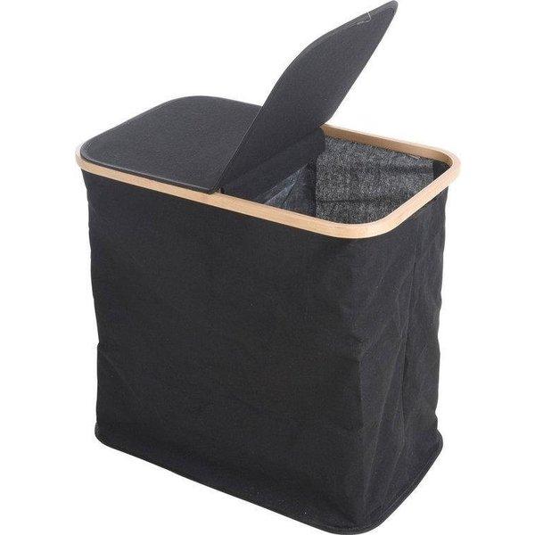 Relaxwonen Relaxwonen - Wasmand - Bamboe Rand - Zwart - Mand - Opvouwbaar - Afsluitbare klep