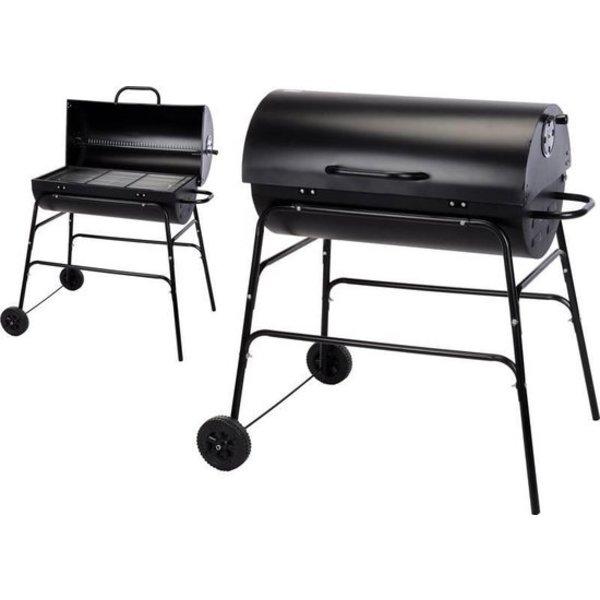 Relaxwonen - BBQ - Barbecue - Houtskool - Verrijdbaar - Mat Zwart - Cilinder Vorm - 75 cm