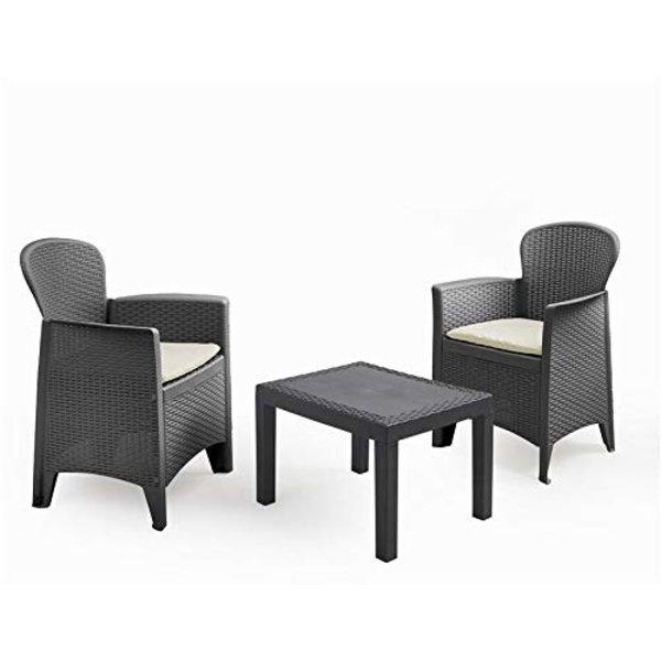 Relaxwonen - Tuinset - 3 delig - 2 stoelen inclusief kussen - 1 tafel - Loungeset