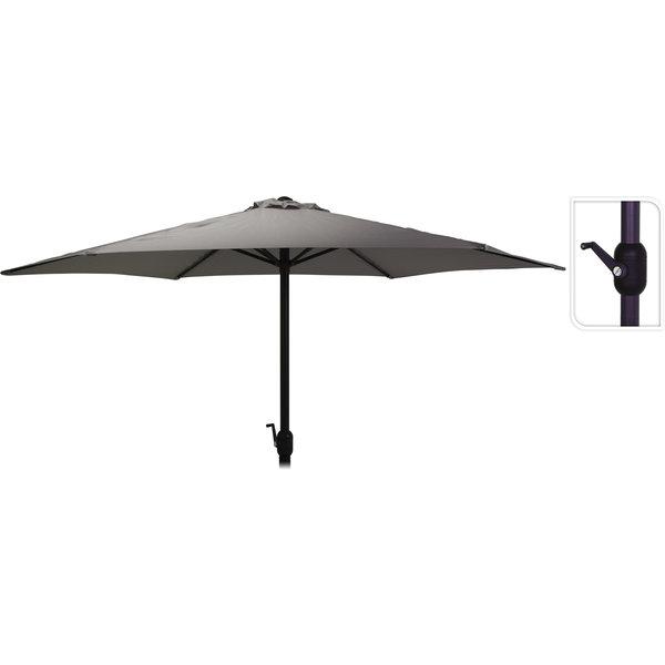 Relaxwonen - Parasol - Donker Grijs - Schaduw - In hoogte verstelbaar - Handmatig opdraaien - 270 cm
