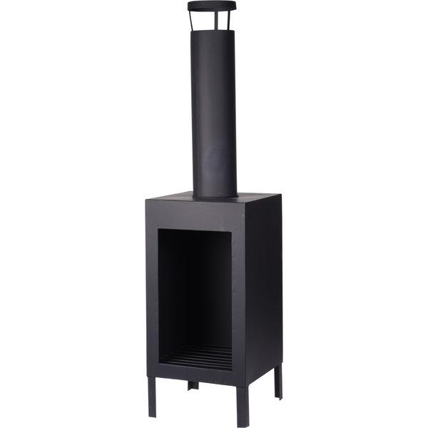 Relaxwonen - Sfeerhaard - Vuurkorf - Buitenkachel - Metaal - 30x30x116 cm - Zwart