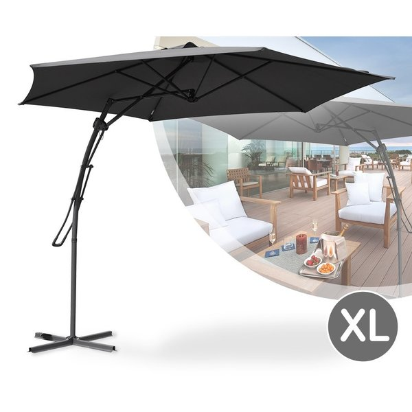 Relaxwonen - Push-up zweefparasol - Ø300cm - antraciet - stevige kwaliteit