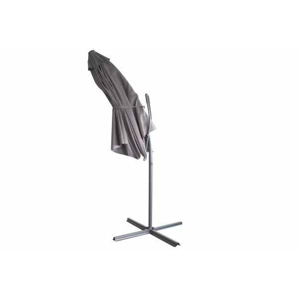 Relaxwonen - Push-up zweefparasol - Ø300cm - lichtgrijs - stevige kwaliteit