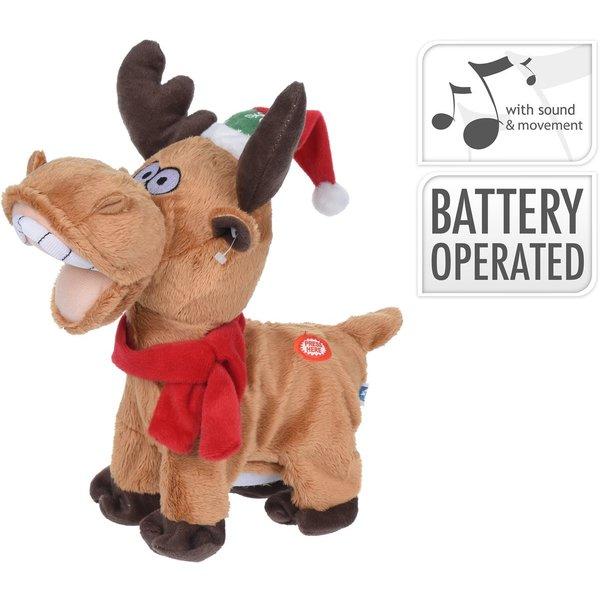 Relaxwonen Relaxwonen - Zingend & Bewegend Kerstrendier - Kerst Sjaal & Muts - I Feel Good - 30x30x20 cm - Exclusief Batterijen