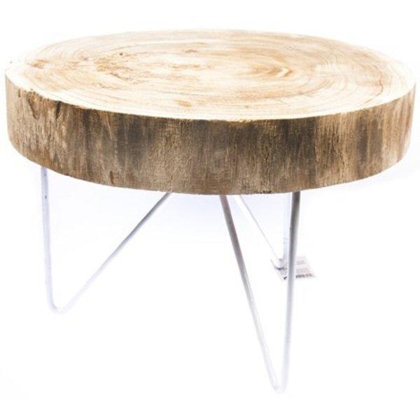 Relax Relaxwonen - Bijzettafel - Wit Onderstel - Houten Blad - Tafel - Design - Robuust - 43 cm Hoog
