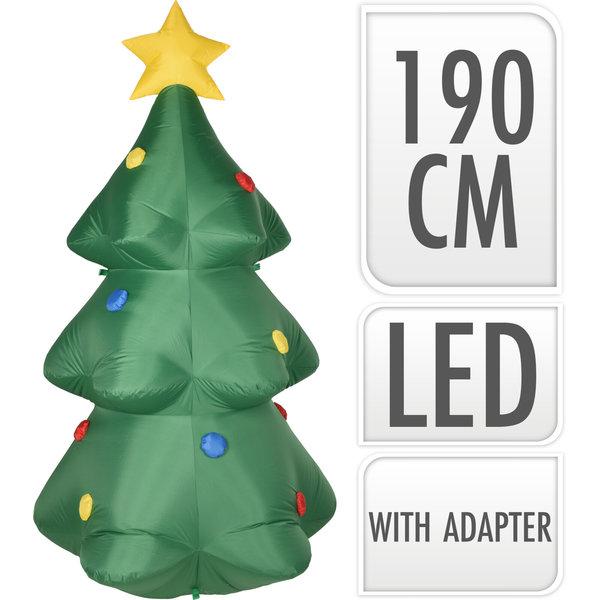 Relax Relaxwonen - Opblaasbare Kerstboom - Inclusief Ledverlichting & Pomp - Kerst - Groen - 190 cm