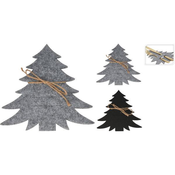Relax Relaxwonen - Bestekhouder - Kerstboom - Kerst - Set van 4 houders - Grijs en Antraciet - Vilt - 15x20 cm