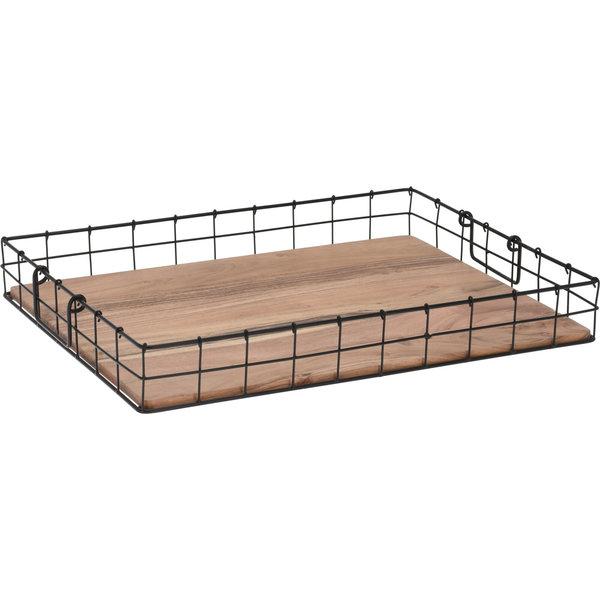 Relax Relaxwonen - Dienblad - Ontbijt op Bed - Accessoire schaal - Metaal - Hout - Zwart - 50x37 cm