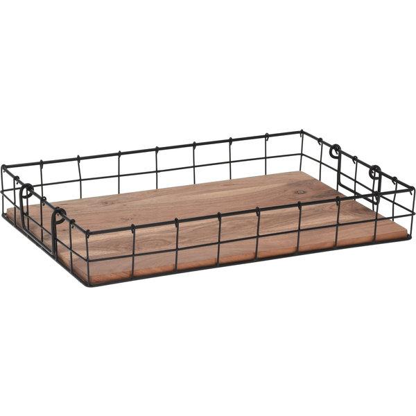 Relax Relaxwonen - Dienblad - Ontbijt op Bed - Accessoire schaal - Metaal - Hout - Zwart - 42x20 cm