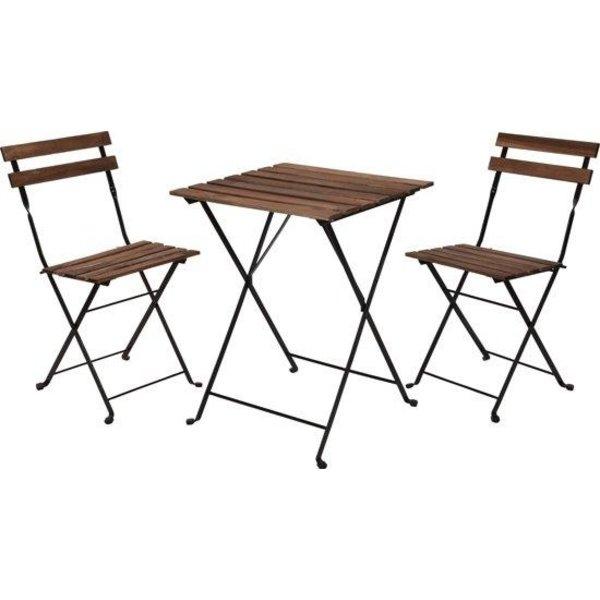 Relaxwonen Relaxwonen - Bistro set - Tuinset - Tuintafel en stoelen - Zwart - Metaal - Hout