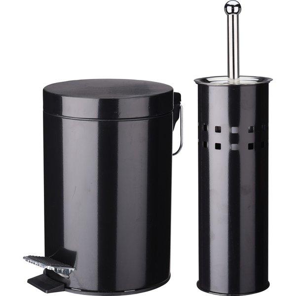 Relaxwonen Relaxwonen - Toilet set - Zwart - RVS gecoat - vuilnisbakje en toiletborstel