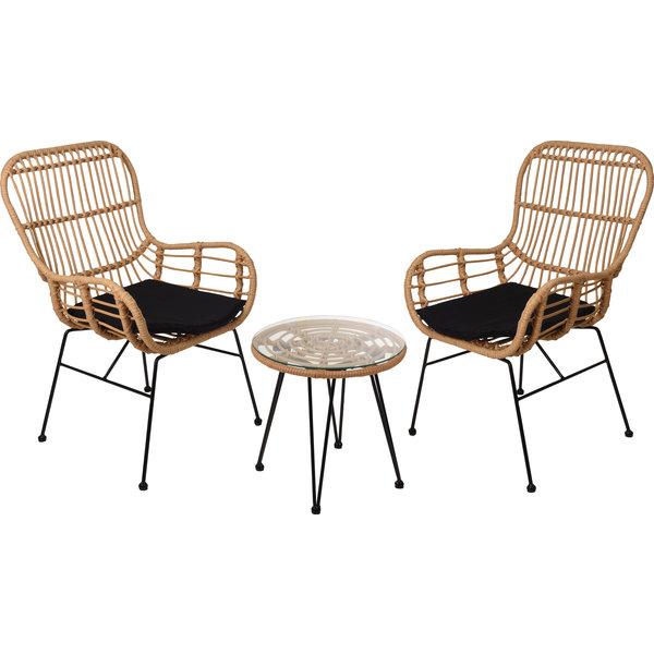 Relaxwonen Relaxwonen - tuinset Rotan - 2 stoelen & tafel - Kwaliteit - Trend 2021