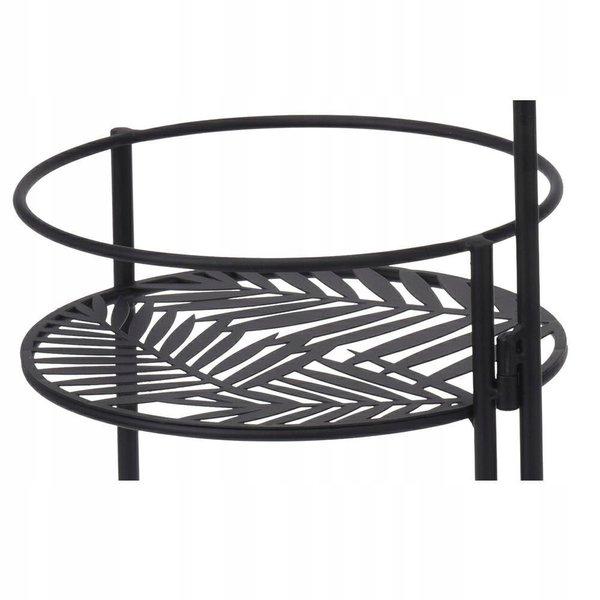 Relaxwonen - standaard voor 3 bloempotten - mat zwart - opvouwbaar - diverse standen te zetten