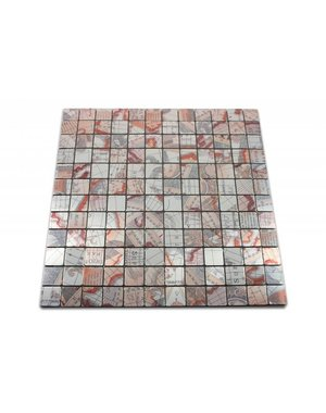 Self adhesive Stick & Peel Mosaic Tile Brown Silver Patterned