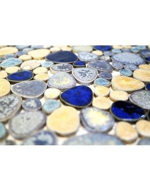 Modesto- Ceramic Mosaic Tile Pebble blue / gold mix