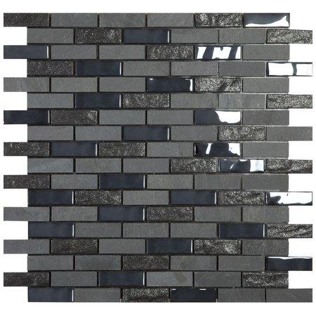 Mosaic Tile smart self adhesive black brickstone