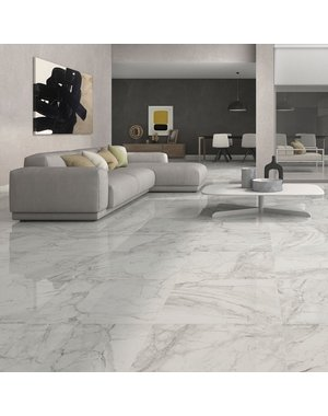 Luxury Tiles Brouille White Marble Effect 60x60 Polished Tiles