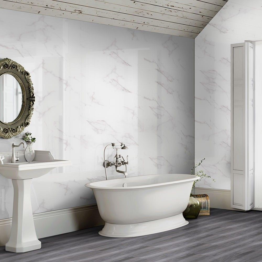 Calacatta Marble Effect 60x60 Gloss Tiles - Luxury Tiles