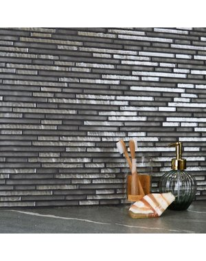 Atlantic Linear Pebble Grey Mosaic Tiles