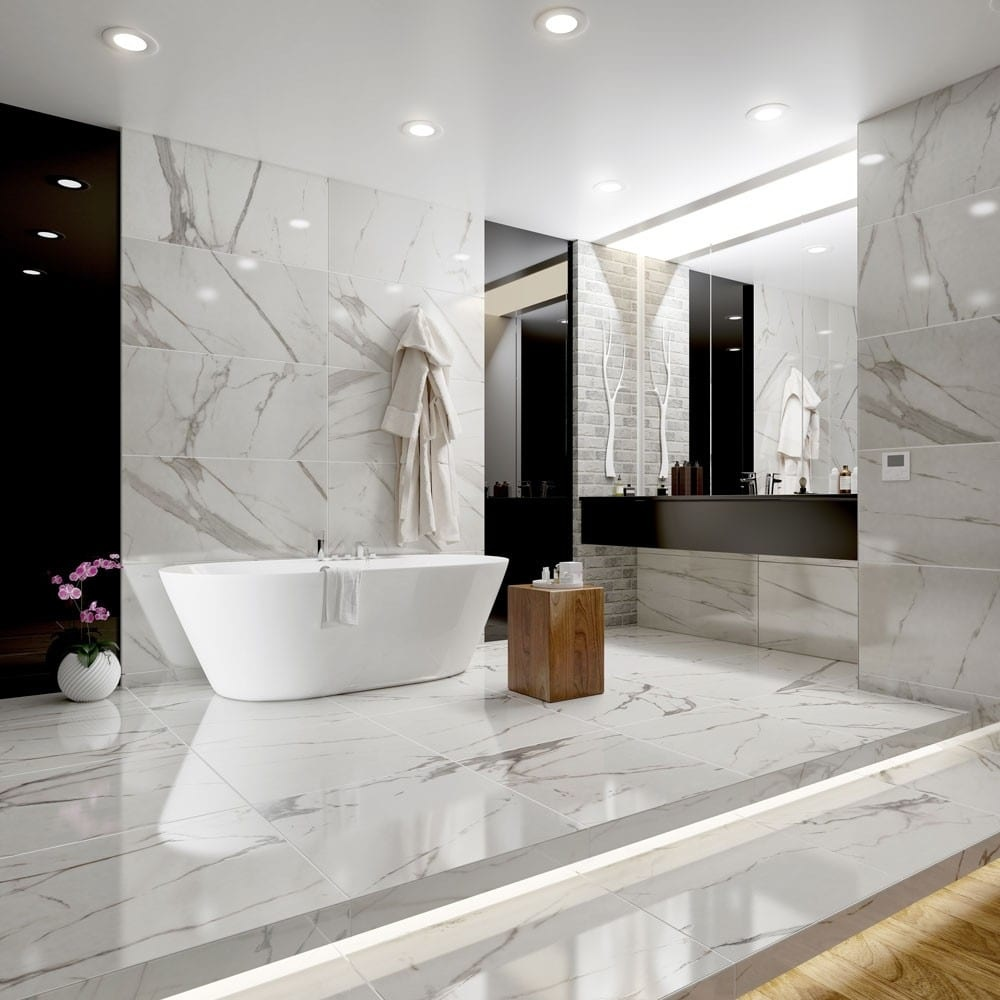 Harlow Polished Marble Effect Statuario Tiles - Luxury Tiles