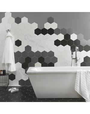 British Ceramic Tiles BCT48435 Hex Grey Hexagon Satin Porcelain Wall Floor Tiles
