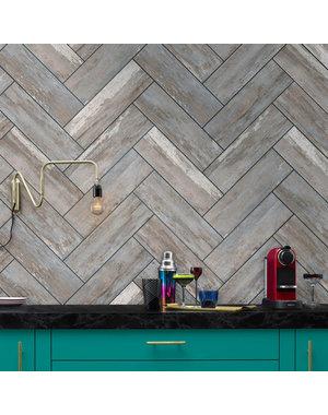 British Ceramic Tiles HD Distressed Wood Blue Wall & Floor Tiles 14.8 x 49.8cm - BCT56805