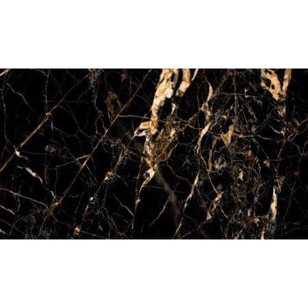 luxor black  Gold Creama  & Jet Black Marble Effect 60cm x 120cm Floor and Wall Tile