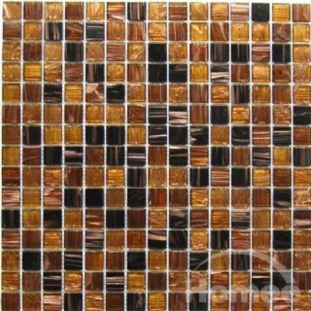 Pandemonium brown and copper square glass mosaic tile