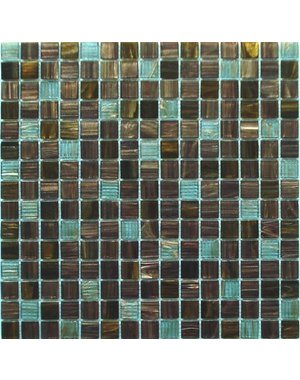 Luxury Tiles Viennet  Blue and deep brown Square glass Mosaic Tile