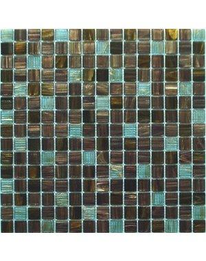 Luxury Tiles Viennet  Blue brown Square glass Mosaic Tile